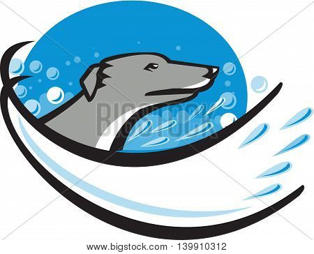 Illustration of a greyhound dog head in water bubble having a wash bath viewed from side set inside oval shape done in retro style.