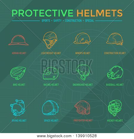 Sport, safety, construction and other special helmets