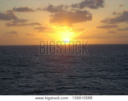 Brilliant sunset over the water in the Caribbean sea