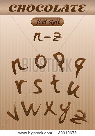 Vector letter of chocolate. letters of the latin alphabet made of chocolate. N - Z. Font style.