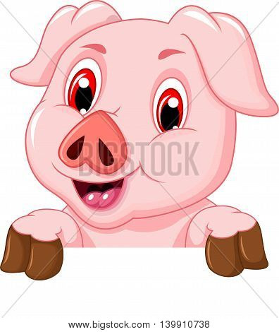 funny pig cartoon with a blank board