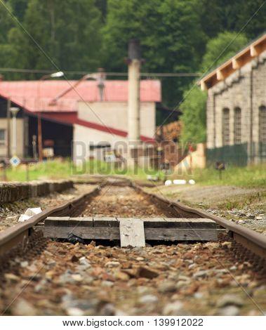 Railroad tracks in station Korenov in mountains