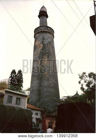 The ancient minaret of the Huaisheng Mosque, also known as the Lighthouse Mosque and the Great Mosque of Canton, which is one of the oldest mosques in the world, in Guangzhou, China, circa 1987.