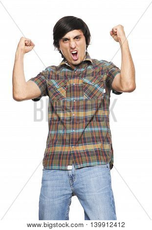 Young Man Shouting and feasting I fill of happiness and emotion on white background