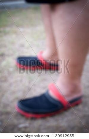 blur of man fat foot blure background