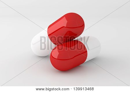 3D rendering of pill capsule isolated on white background.
