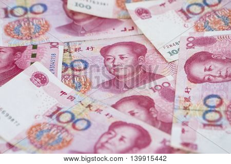 close up of china money 100 bank note background