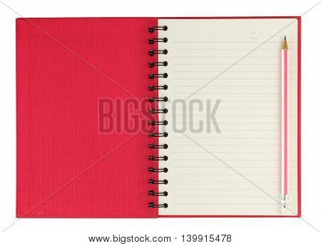 Pink ring binder notebook and pencil isolated on white