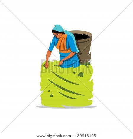 Woman with a Basket. Isolated on a White Background