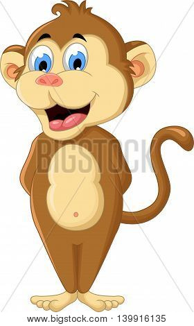 cute monkey cartoon standing for you design