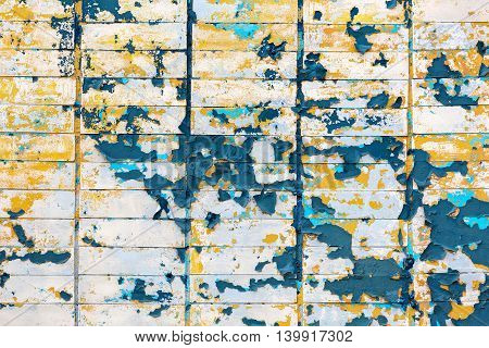 Old Peeling Paint Tiled Wall Background
