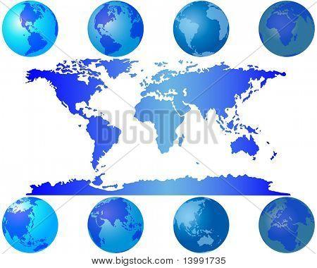 Set of worls globes for design use