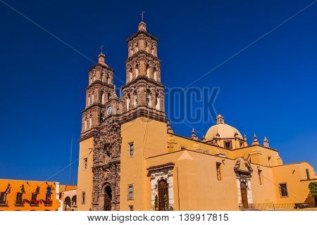 Christmas Parroquia Cathedral Dolores Hidalgo Mexico. Where Father Miguel Hidalgo made his Grito de Dolers starting the 1810 War of Independence in Mexico. Cathedral built in the 1700s.