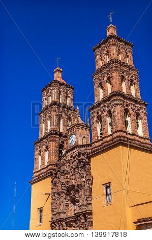 Christmas Parroquia Cathedral Bell Towers Dolores Hidalgo Mexico. Where Father Miguel Hidalgo made his Grito de Dolers starting the 1810 War of Independence in Mexico. Cathedral built in the 1700s.