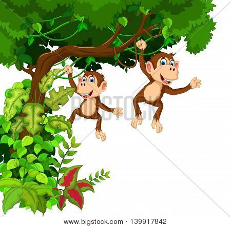 happy two monkey cartoon hinging on the tree