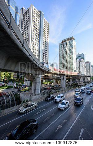 Bangkok, Thailand - July 24 / 2016 : High view of city transport