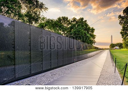 WASHINGTON DC, USA - JUNE 18, 2016: The Vietnam War Memorial in Washington DC.