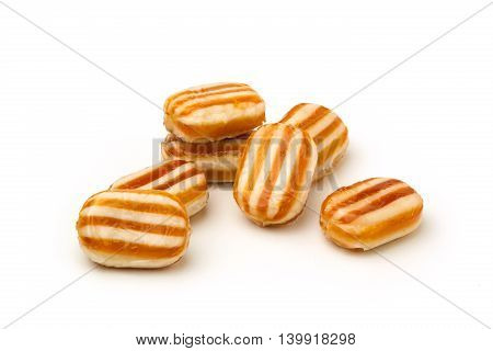 Homemade collection of candy on white background