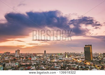 Cityscape of Bangkok city at business district in evening
