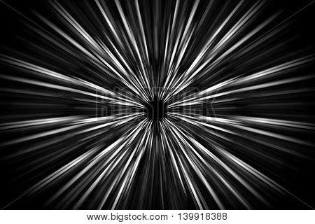 Abstract long exposure, speed lines motion, black and white