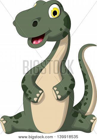 cute dinosaur cartoon sitting for you design