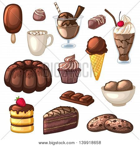 A set of chocolate desserts and drinks. Cakes, candy, cookies, milkshakes, ice cream and cocoa. Isolated objects on white background. Collection of confectionery. Cartoon icons. Vector illustration.