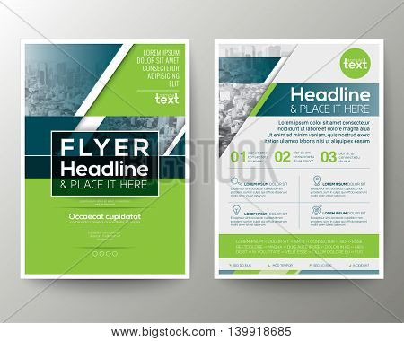 Green and Blue Geometric background Poster Brochure Flyer leaflet design Layout vector template in A4 size