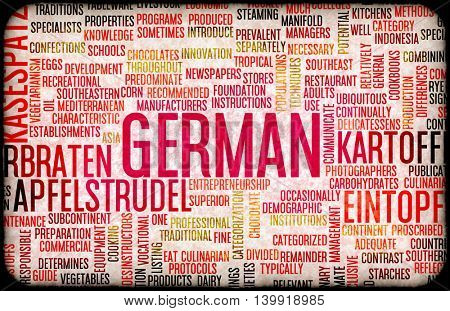German Food and Cuisine Menu Background with Local Dishes
