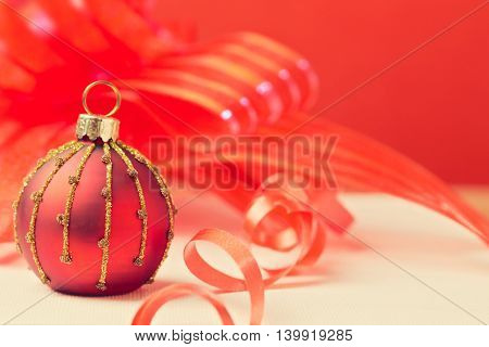 Christmas holiday background with ornament ball close up