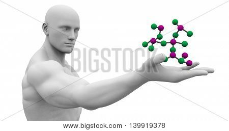Chemistry Science with Man Looking at Molecular Formula 3D Illustration Render