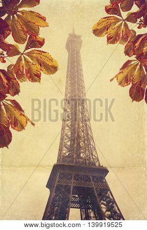 Autumn Eiffel Tower in Paris France. Vintage card design