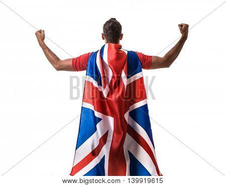 Athlete celebrating and holding the flag of UK