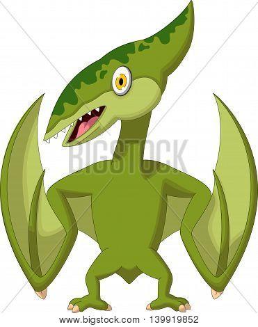 cute pterodactyl cartoon posing for you design