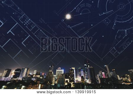 Abstract city at night with architectural drawing plan background