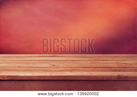 Christmas holiday background with empty wooden deck