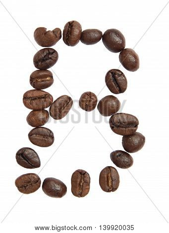 Isolated Alphabet; B Make From Coffee Bean On White Background