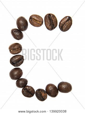 Isolated Alphabet; C Make From Coffee Bean On White Background