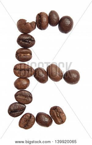 Isolated Alphabet; E Make From Coffee Bean On White Background