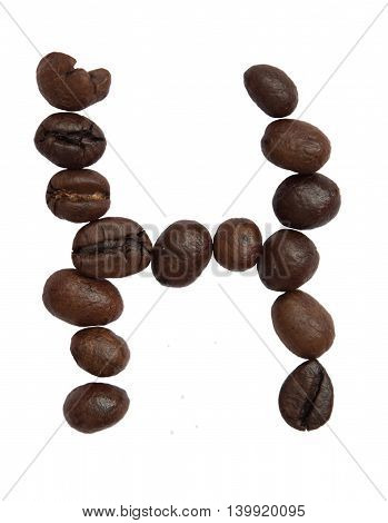 Isolated Alphabet; H Make From Coffee Bean On White Background