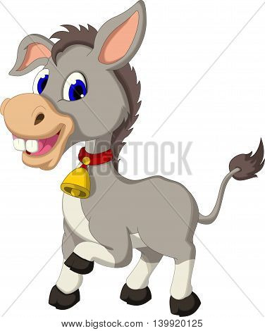 cute donkey cartoon posing for you design