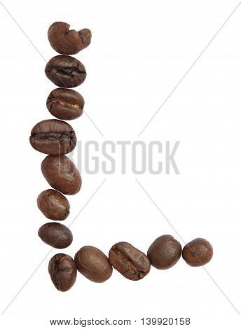 Isolated Alphabet; L Make From Coffee Bean On White Background