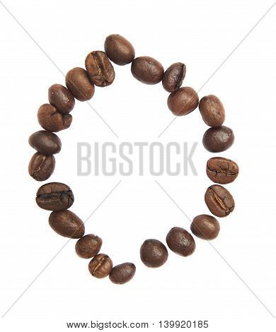 Isolated Alphabet; O Make From Coffee Bean On White Background