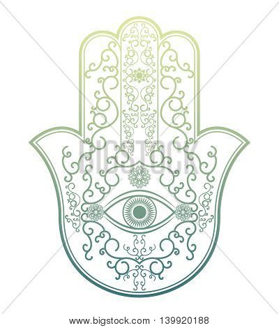 Elegant ornate hand drawn Hamsa Hand of Fatima. Good luck amulet in Indian, Arabic Jewish cultures. Vintage style isolated vector illustration.