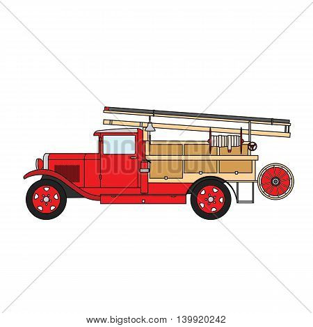 Old vintage retro firetruck with a bell.