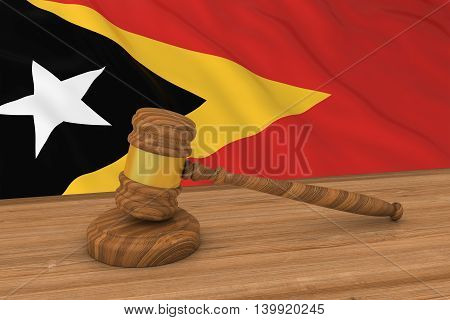 Timorese Law Concept - Flag Of East Timor Behind Judge's Gavel 3D Illustration