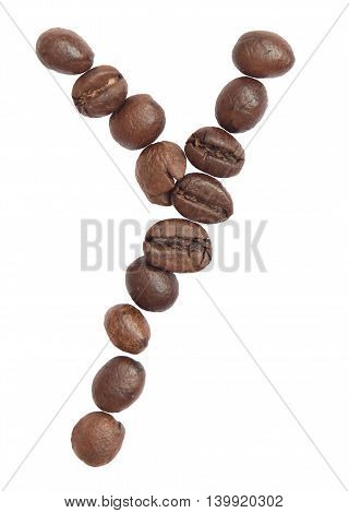 Isolated Alphabet; Y Make From Coffee Bean On White Background