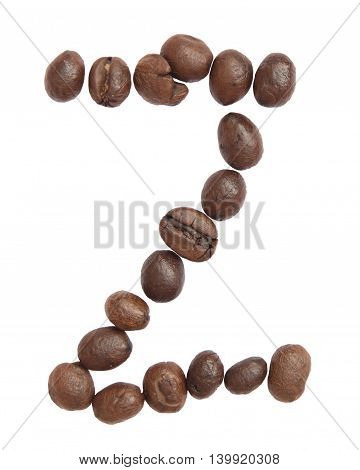 Isolated Alphabet; Z Make From Coffee Bean On White Background