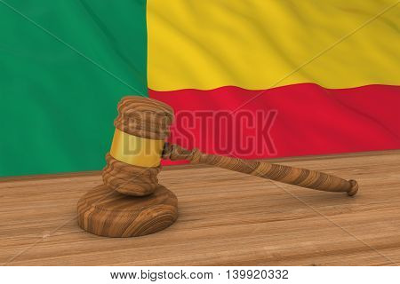 Beninese Law Concept - Flag Of Benin Behind Judge's Gavel 3D Illustration