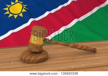 Namibian Law Concept - Flag Of Namibia Behind Judge's Gavel 3D Illustration
