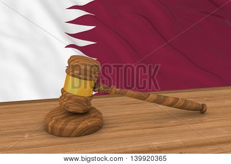 Qatari Law Concept - Flag Of Qatar Behind Judge's Gavel 3D Illustration